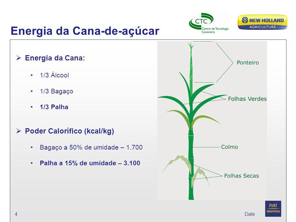 Date Energia da Cana-de-açúcar 4  Energia da Cana: 1/3 Álcool 1/3 Bagaço 1/3 Palha  Poder Calorífico (kcal/kg) Bagaço a 50% de umidade – 1.700 Palha