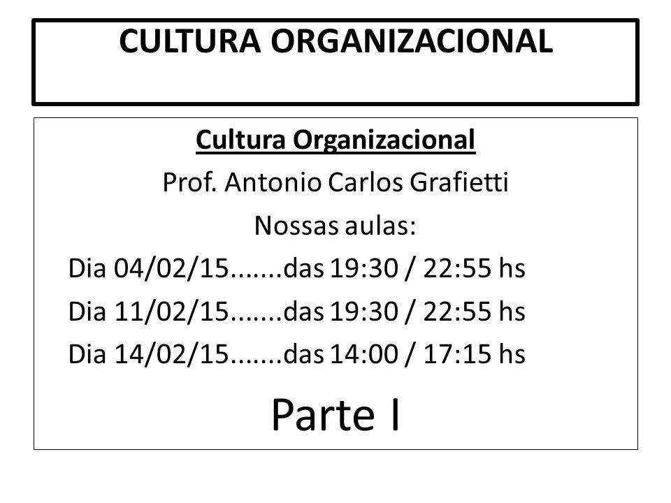 CULTURA ORGANIZACIONAL Cultura Organizacional Prof. Antonio Carlos Grafietti Nossas aulas: Dia 04/02/15.......das 19:30 / 22:55 hs Dia 11/02/15.......