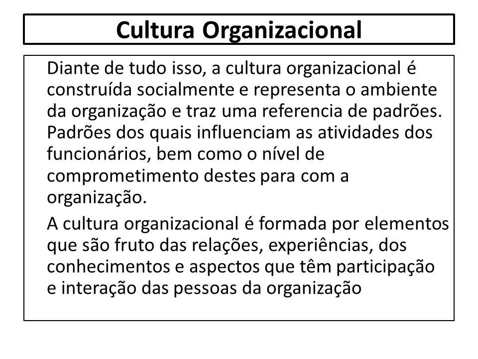 Cultura Organizacional Diante de tudo isso, a cultura organizacional é construída socialmente e representa o ambiente da organização e traz uma refere