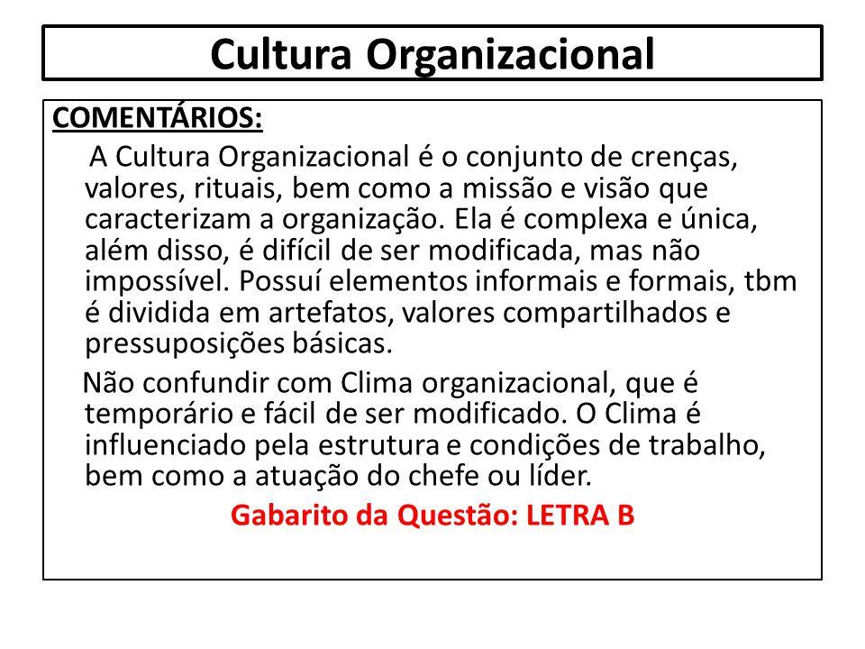 Cultura Organizacional COMENTÁRIOS: A Cultura Organizacional é o conjunto de crenças, valores, rituais, bem como a missão e visão que caracterizam a o