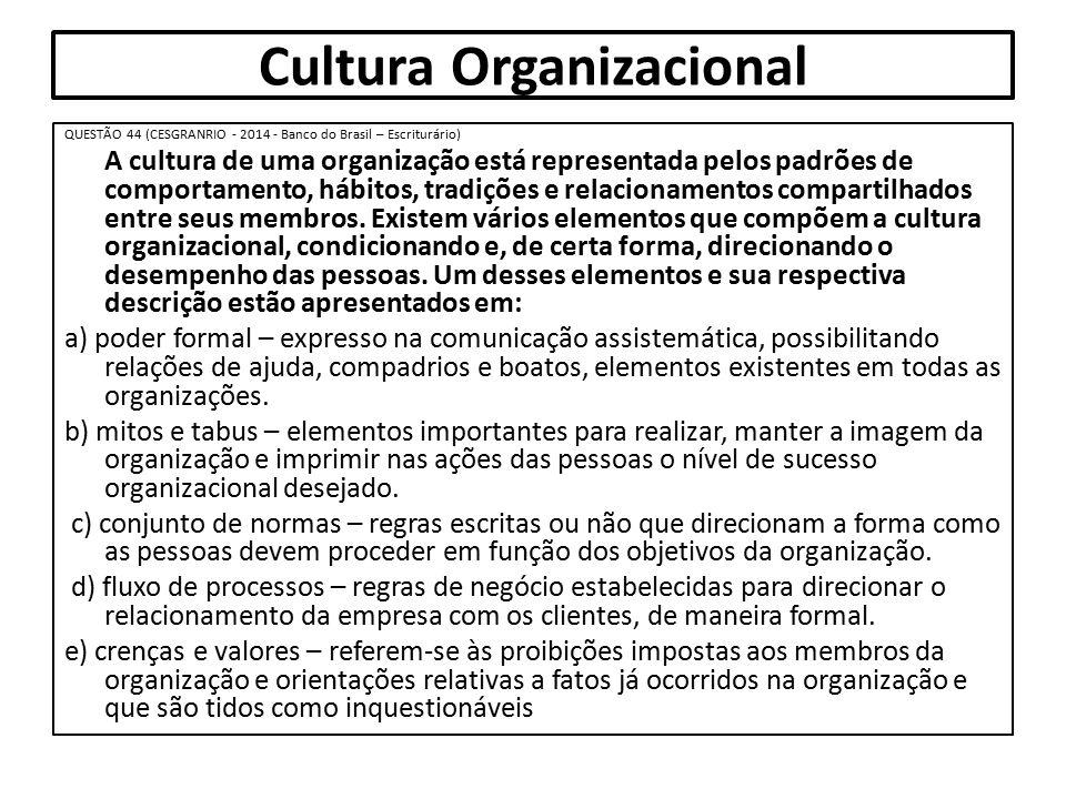 Cultura Organizacional QUESTÃO 44 (CESGRANRIO - 2014 - Banco do Brasil – Escriturário) A cultura de uma organização está representada pelos padrões de