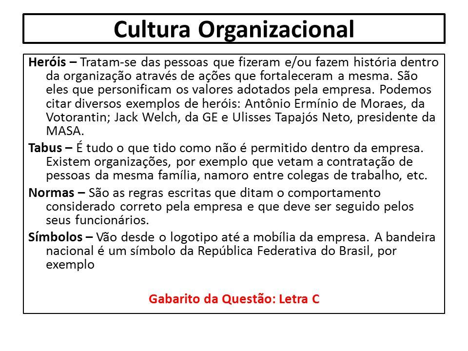 Cultura Organizacional Heróis – Tratam-se das pessoas que fizeram e/ou fazem história dentro da organização através de ações que fortaleceram a mesma.