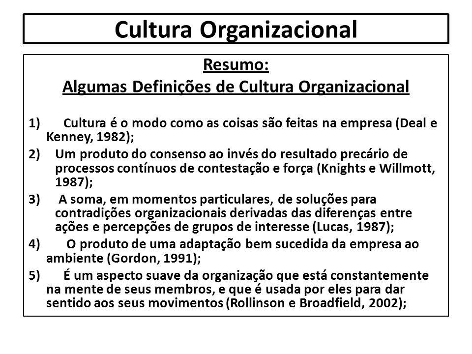 Cultura Organizacional Resumo: Algumas Definições de Cultura Organizacional 1) Cultura é o modo como as coisas são feitas na empresa (Deal e Kenney, 1