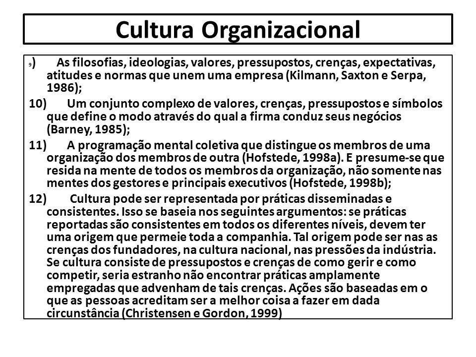 Cultura Organizacional 9 ) As filosofias, ideologias, valores, pressupostos, crenças, expectativas, atitudes e normas que unem uma empresa (Kilmann, S