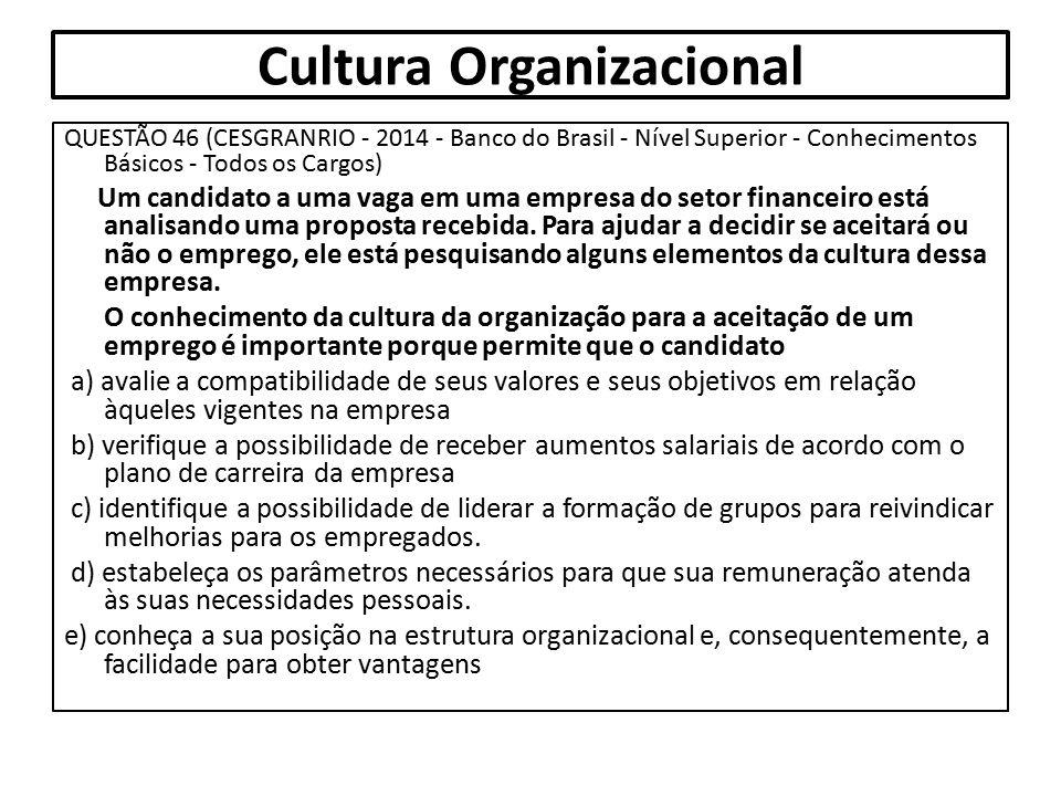 QUESTÃO 46 (CESGRANRIO - 2014 - Banco do Brasil - Nível Superior - Conhecimentos Básicos - Todos os Cargos) Um candidato a uma vaga em uma empresa do