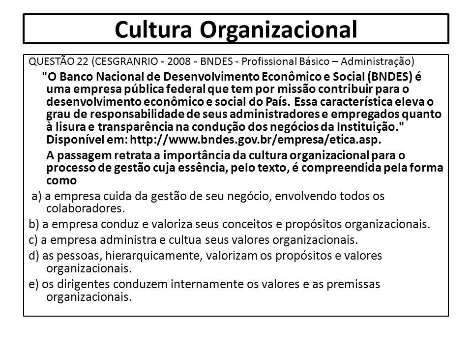 Cultura Organizacional QUESTÃO 22 (CESGRANRIO - 2008 - BNDES - Profissional Básico – Administração)
