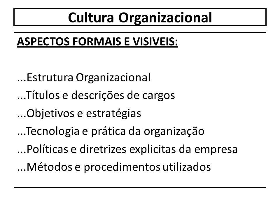 Cultura Organizacional ASPECTOS FORMAIS E VISIVEIS:...Estrutura Organizacional...Títulos e descrições de cargos...Objetivos e estratégias...Tecnologia