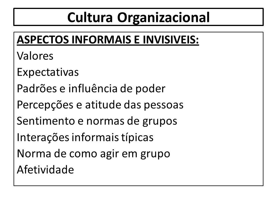 Cultura Organizacional ASPECTOS INFORMAIS E INVISIVEIS: Valores Expectativas Padrões e influência de poder Percepções e atitude das pessoas Sentimento