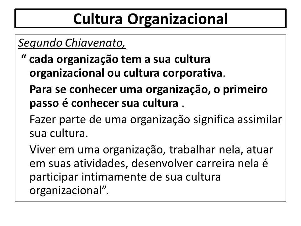 """Cultura Organizacional Segundo Chiavenato, """" cada organização tem a sua cultura organizacional ou cultura corporativa. Para se conhecer uma organizaçã"""