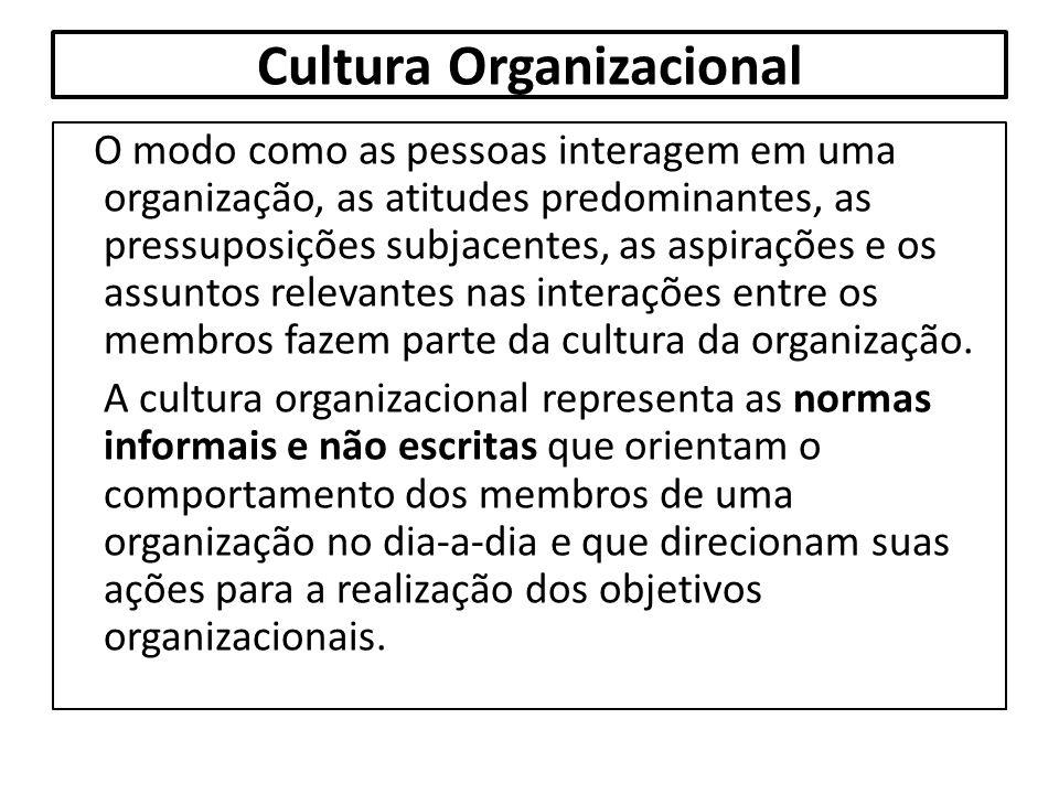 Cultura Organizacional O modo como as pessoas interagem em uma organização, as atitudes predominantes, as pressuposições subjacentes, as aspirações e