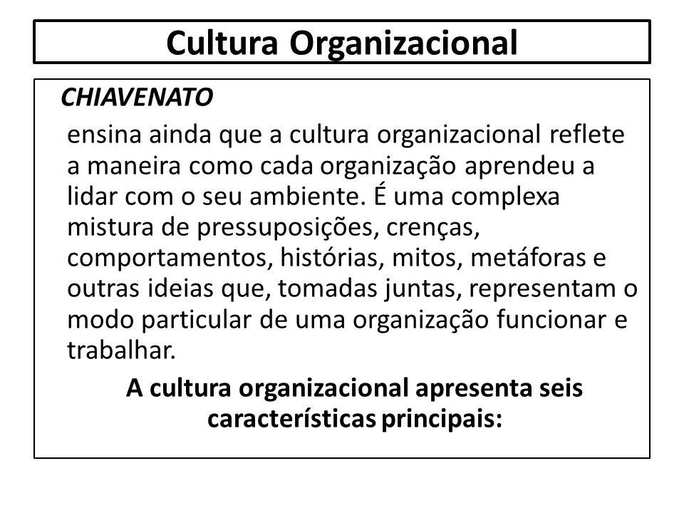 Cultura Organizacional CHIAVENATO ensina ainda que a cultura organizacional reflete a maneira como cada organização aprendeu a lidar com o seu ambient