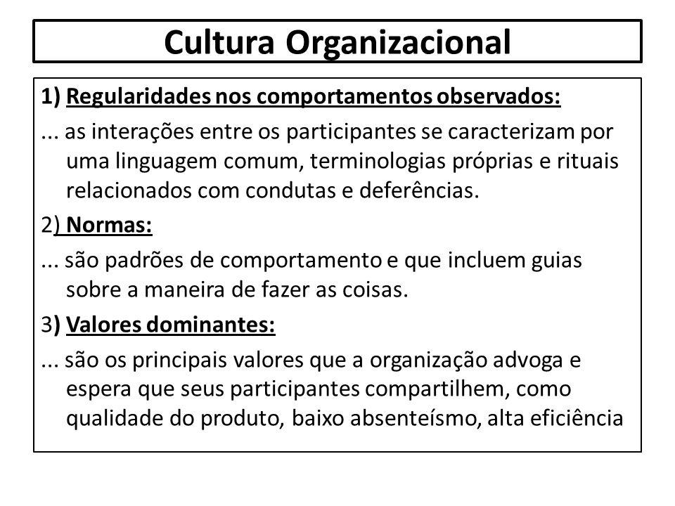 Cultura Organizacional 1) Regularidades nos comportamentos observados:... as interações entre os participantes se caracterizam por uma linguagem comum