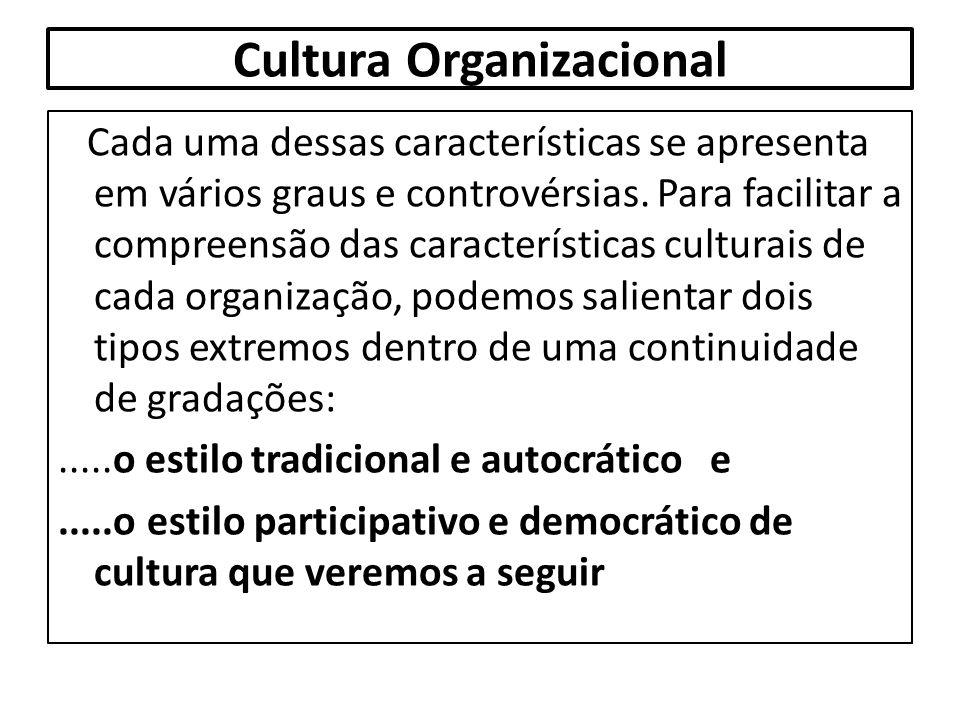 Cultura Organizacional Cada uma dessas características se apresenta em vários graus e controvérsias. Para facilitar a compreensão das características