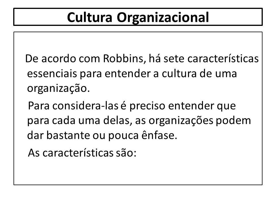 Cultura Organizacional De acordo com Robbins, há sete características essenciais para entender a cultura de uma organização. Para considera-las é prec