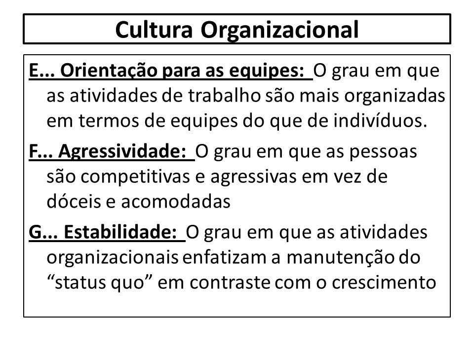 Cultura Organizacional E... Orientação para as equipes: O grau em que as atividades de trabalho são mais organizadas em termos de equipes do que de in