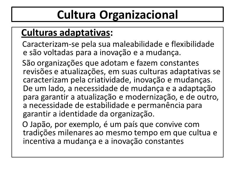Cultura Organizacional Culturas adaptativas: Caracterizam-se pela sua maleabilidade e flexibilidade e são voltadas para a inovação e a mudança. São or