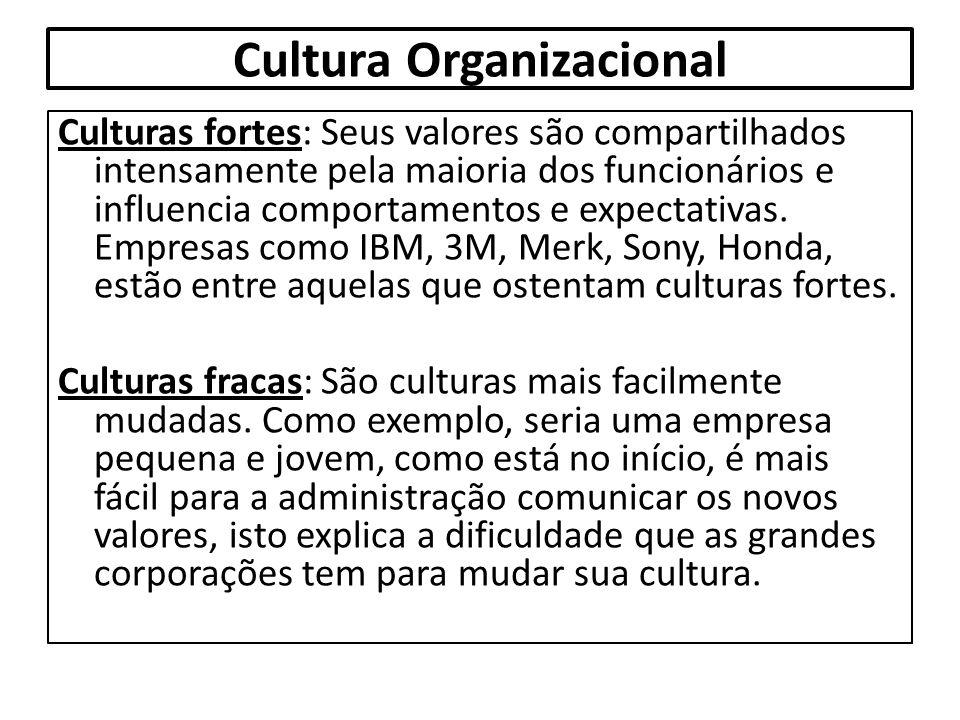 Cultura Organizacional Culturas fortes: Seus valores são compartilhados intensamente pela maioria dos funcionários e influencia comportamentos e expec