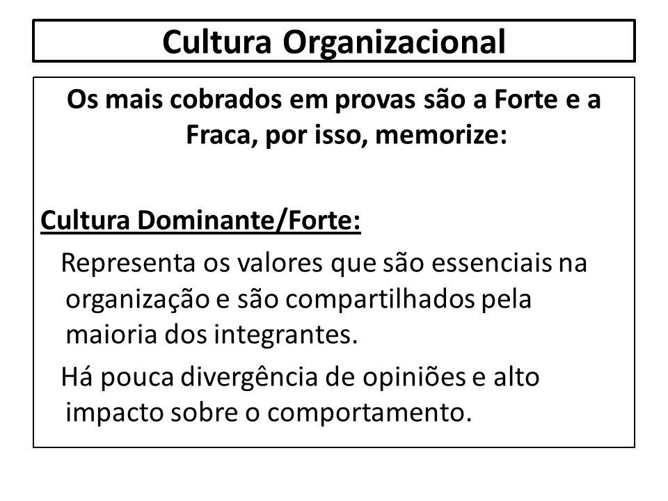 Cultura Organizacional Os mais cobrados em provas são a Forte e a Fraca, por isso, memorize: Cultura Dominante/Forte: Representa os valores que são es