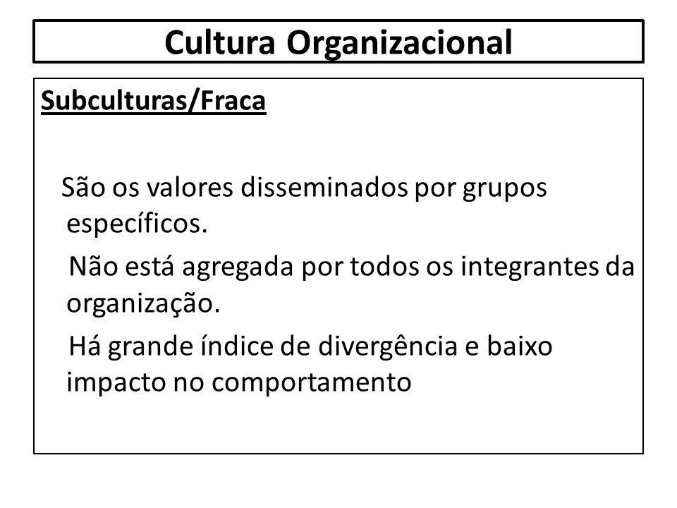 Cultura Organizacional Subculturas/Fraca São os valores disseminados por grupos específicos. Não está agregada por todos os integrantes da organização