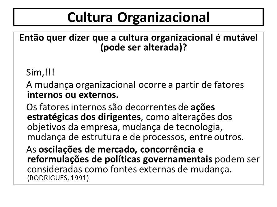 Cultura Organizacional Então quer dizer que a cultura organizacional é mutável (pode ser alterada)? Sim,!!! A mudança organizacional ocorre a partir d