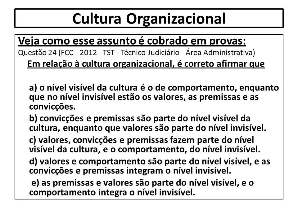 Cultura Organizacional Veja como esse assunto é cobrado em provas: Questão 24 (FCC - 2012 - TST - Técnico Judiciário - Área Administrativa) Em relação