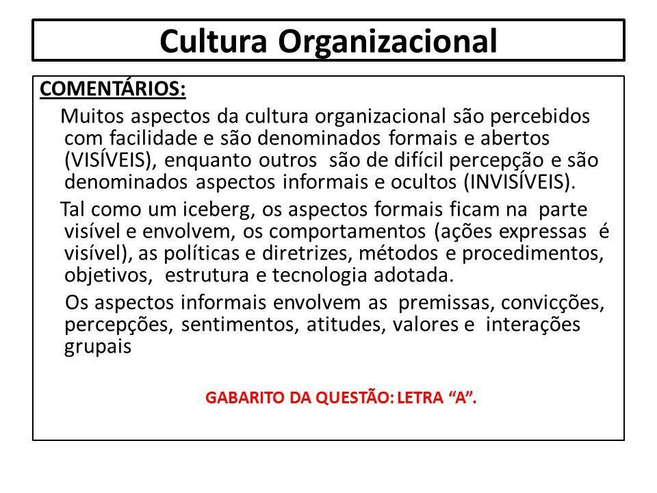 Cultura Organizacional COMENTÁRIOS: Muitos aspectos da cultura organizacional são percebidos com facilidade e são denominados formais e abertos (VISÍV