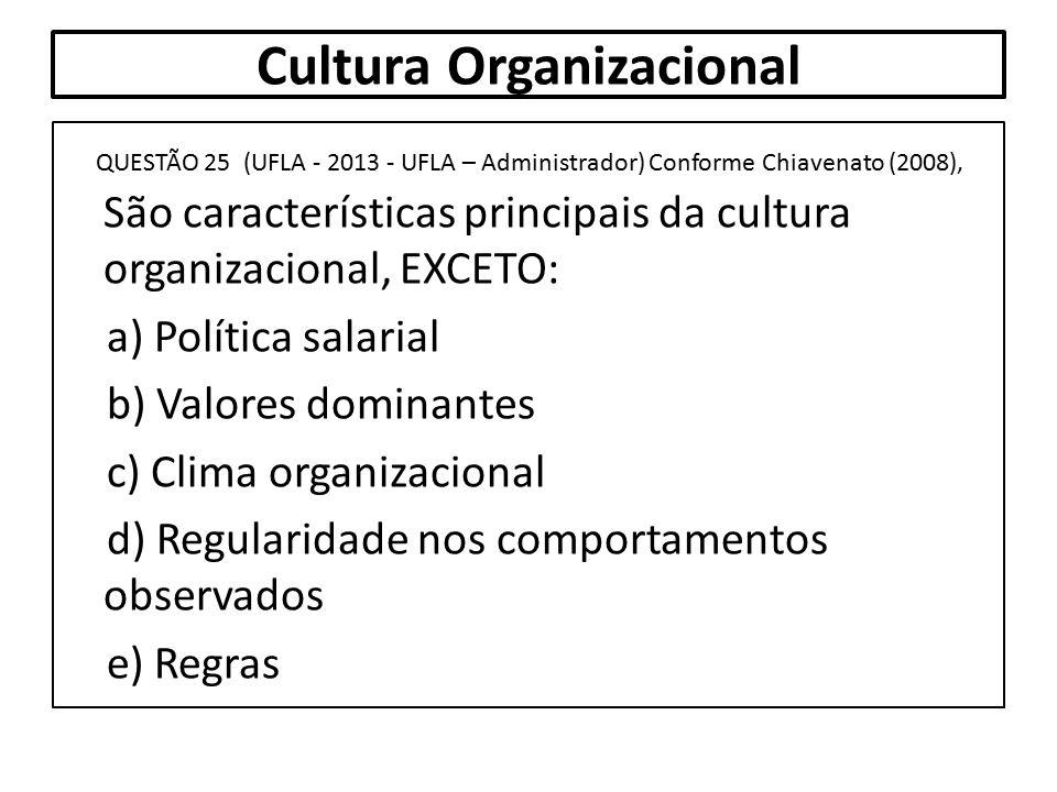 Cultura Organizacional QUESTÃO 25 (UFLA - 2013 - UFLA – Administrador) Conforme Chiavenato (2008), São características principais da cultura organizac