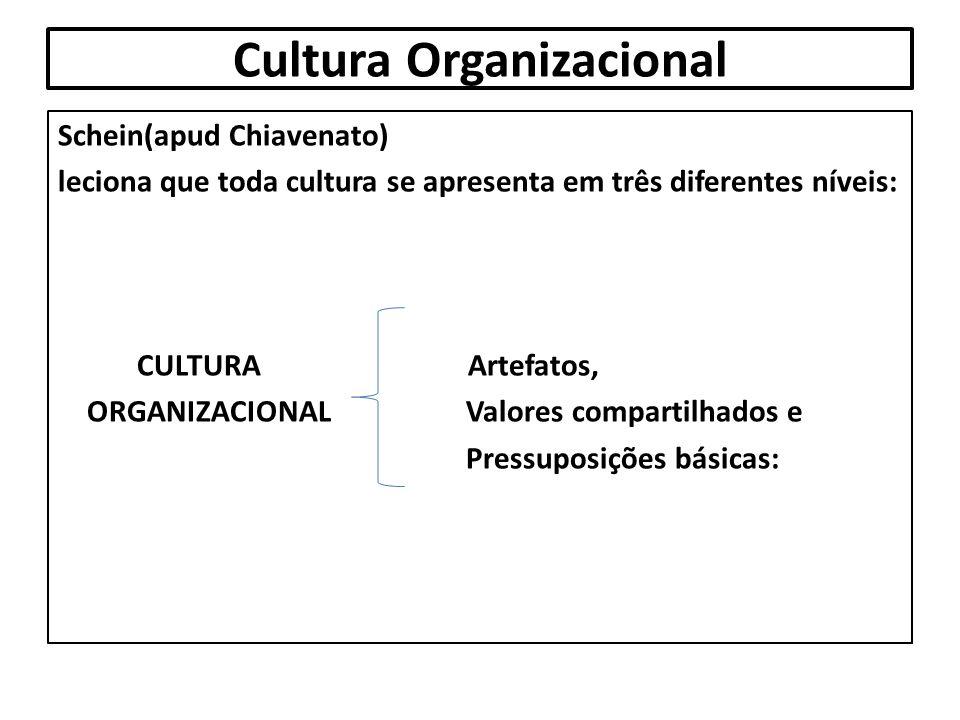 Cultura Organizacional Schein(apud Chiavenato) leciona que toda cultura se apresenta em três diferentes níveis: CULTURA Artefatos, ORGANIZACIONAL Valo