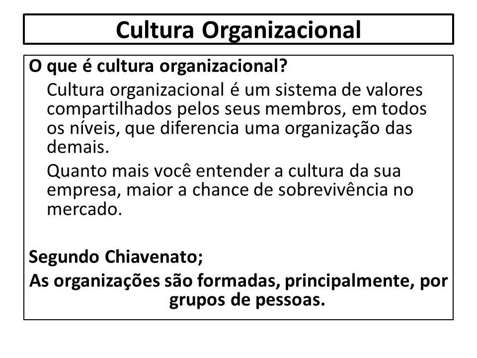 Cultura Organizacional O que é cultura organizacional? Cultura organizacional é um sistema de valores compartilhados pelos seus membros, em todos os n