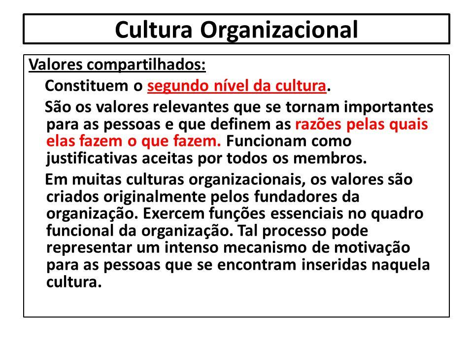 Cultura Organizacional Valores compartilhados: Constituem o segundo nível da cultura. São os valores relevantes que se tornam importantes para as pess