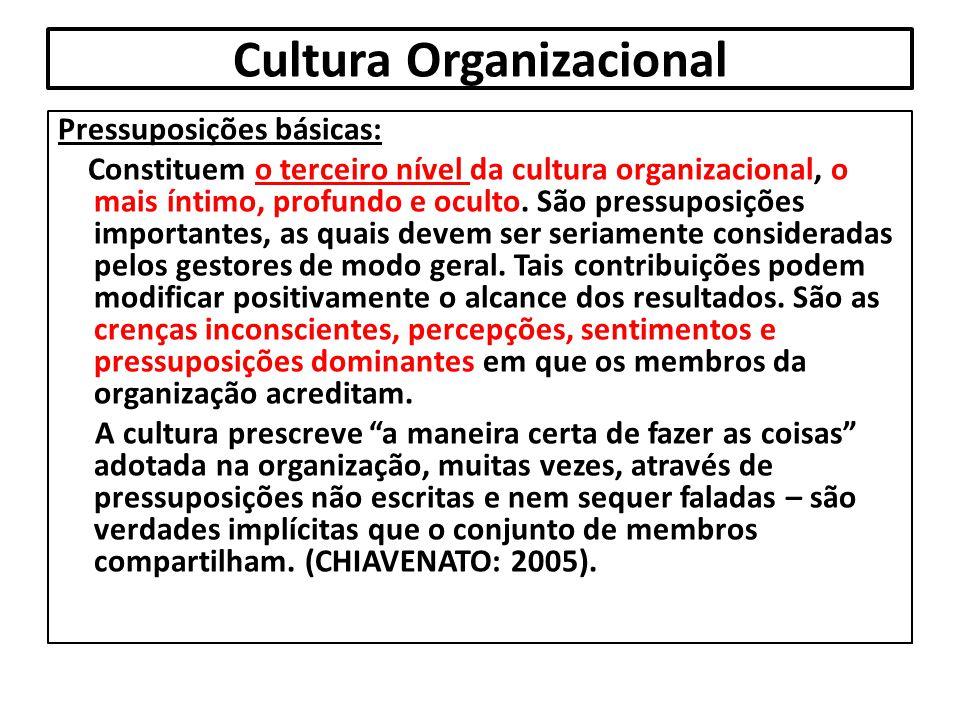 Cultura Organizacional Pressuposições básicas: Constituem o terceiro nível da cultura organizacional, o mais íntimo, profundo e oculto. São pressuposi