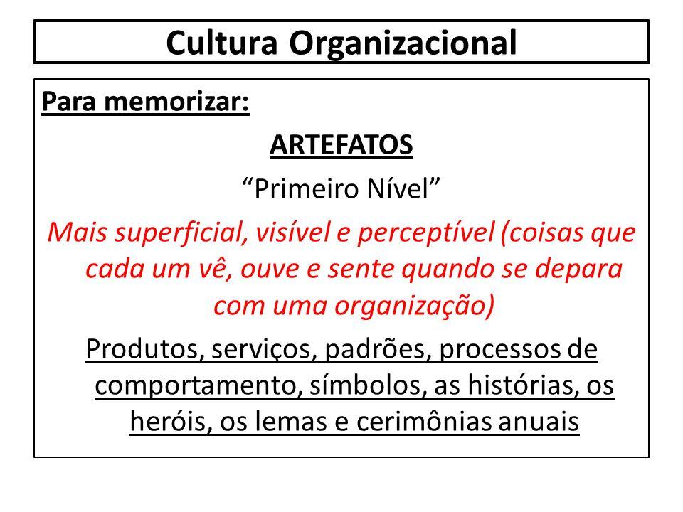 """Cultura Organizacional Para memorizar: ARTEFATOS """"Primeiro Nível"""" Mais superficial, visível e perceptível (coisas que cada um vê, ouve e sente quando"""
