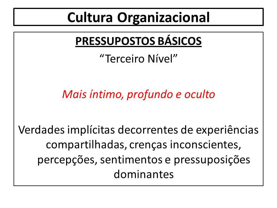"""Cultura Organizacional PRESSUPOSTOS BÁSICOS """"Terceiro Nível"""" Mais íntimo, profundo e oculto Verdades implícitas decorrentes de experiências compartilh"""