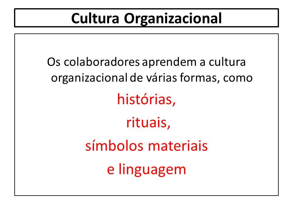 Cultura Organizacional Os colaboradores aprendem a cultura organizacional de várias formas, como histórias, rituais, símbolos materiais e linguagem