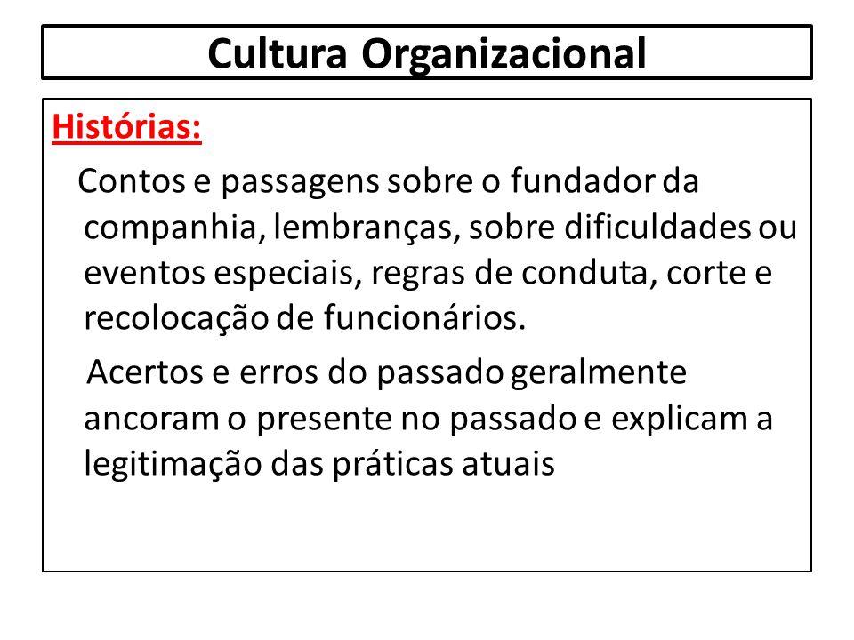 Cultura Organizacional Histórias: Contos e passagens sobre o fundador da companhia, lembranças, sobre dificuldades ou eventos especiais, regras de con