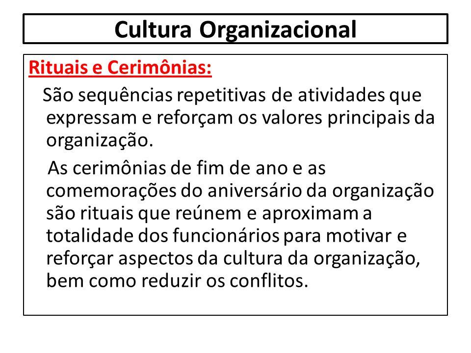 Cultura Organizacional Rituais e Cerimônias: São sequências repetitivas de atividades que expressam e reforçam os valores principais da organização. A