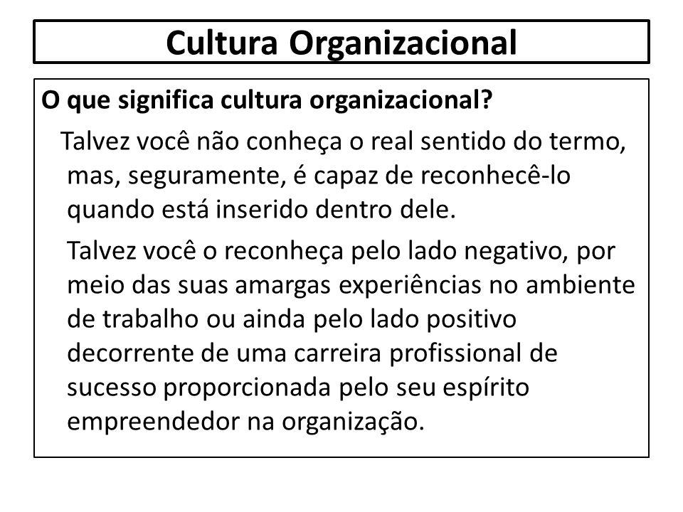 Cultura Organizacional O que significa cultura organizacional? Talvez você não conheça o real sentido do termo, mas, seguramente, é capaz de reconhecê