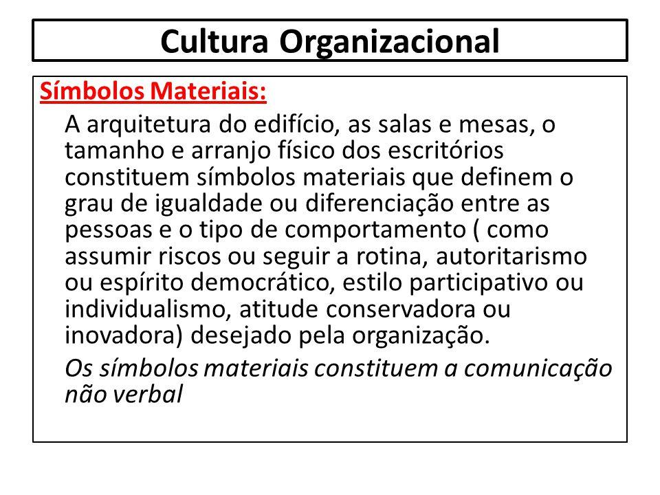 Cultura Organizacional Símbolos Materiais: A arquitetura do edifício, as salas e mesas, o tamanho e arranjo físico dos escritórios constituem símbolos