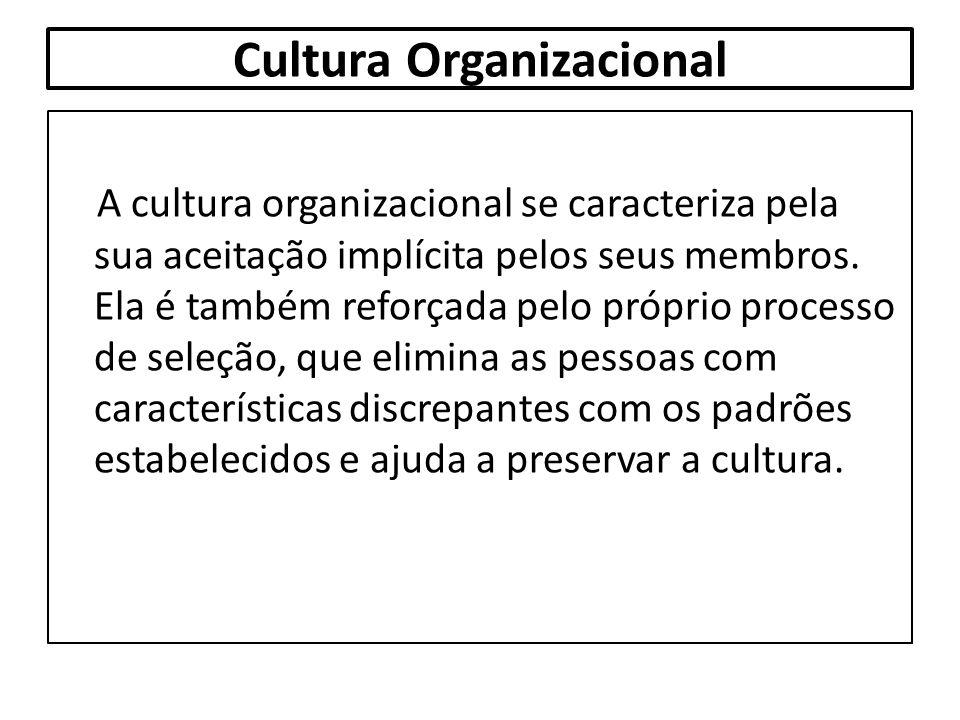 Cultura Organizacional A cultura organizacional se caracteriza pela sua aceitação implícita pelos seus membros. Ela é também reforçada pelo próprio pr
