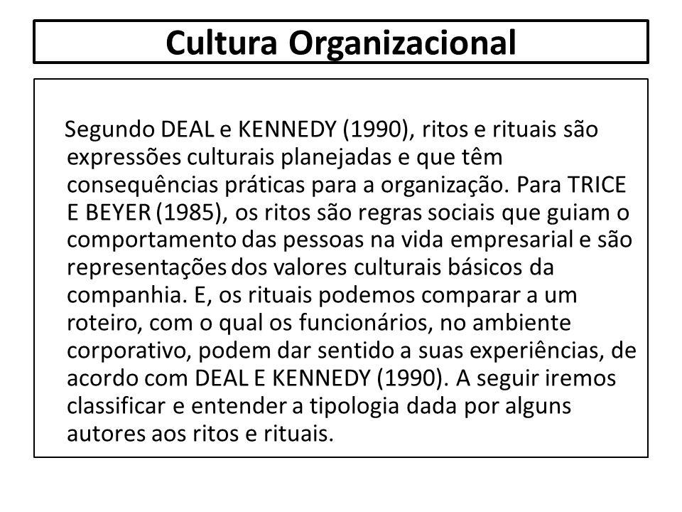 Cultura Organizacional Segundo DEAL e KENNEDY (1990), ritos e rituais são expressões culturais planejadas e que têm consequências práticas para a orga