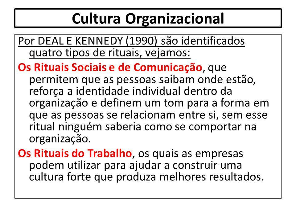 Cultura Organizacional Por DEAL E KENNEDY (1990) são identificados quatro tipos de rituais, vejamos: Os Rituais Sociais e de Comunicação, que permitem