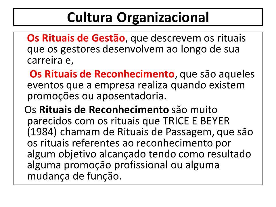 Cultura Organizacional Os Rituais de Gestão, que descrevem os rituais que os gestores desenvolvem ao longo de sua carreira e, Os Rituais de Reconhecim