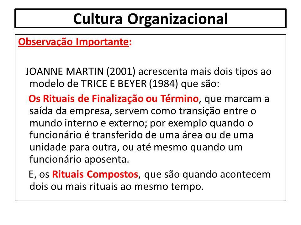Cultura Organizacional Observação Importante: JOANNE MARTIN (2001) acrescenta mais dois tipos ao modelo de TRICE E BEYER (1984) que são: Os Rituais de