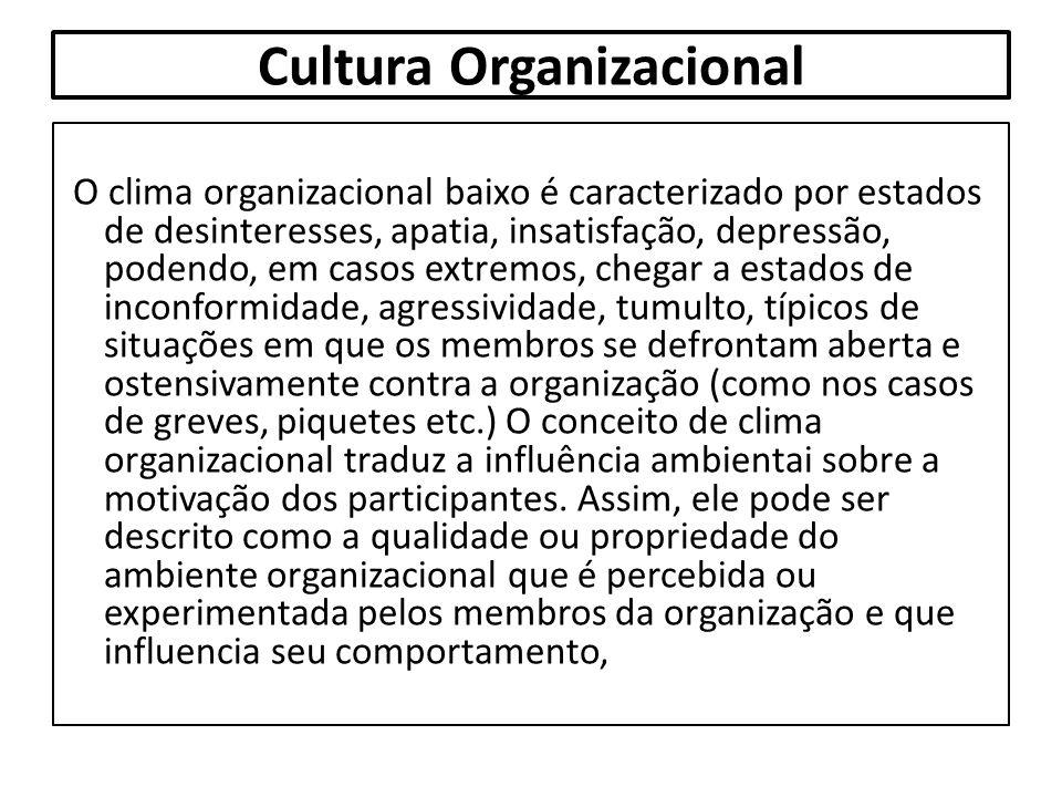 Cultura Organizacional O clima organizacional baixo é caracterizado por estados de desinteresses, apatia, insatisfação, depressão, podendo, em casos e