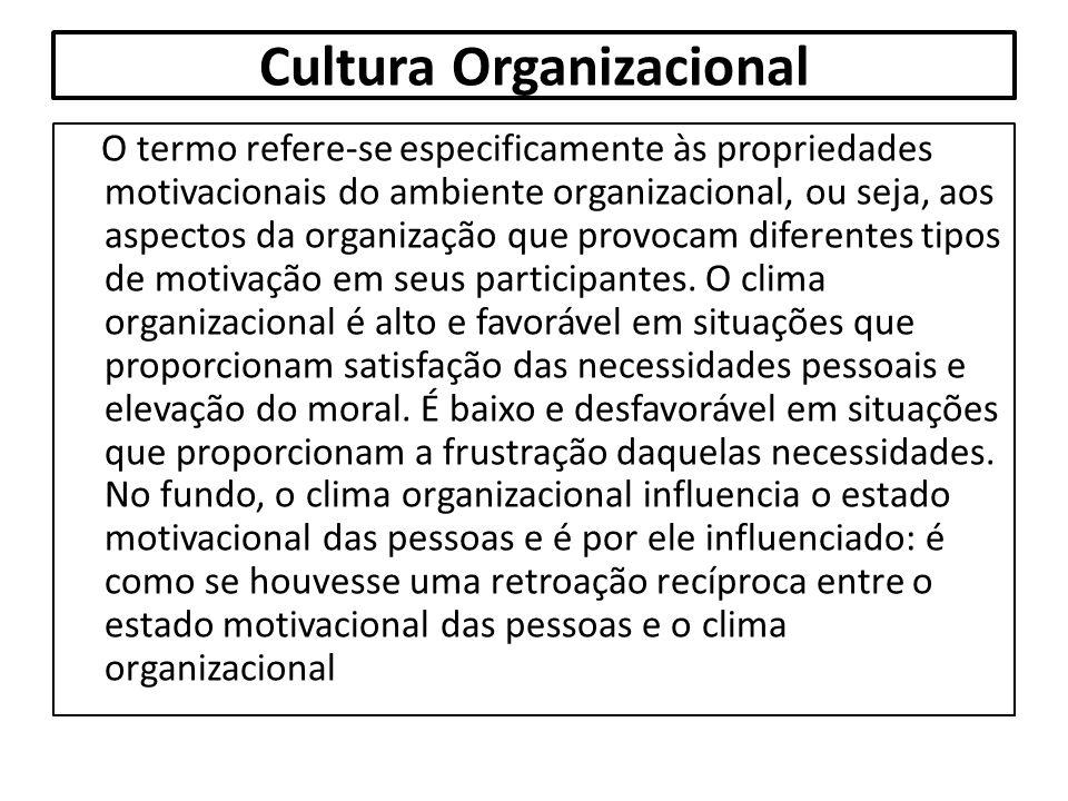 Cultura Organizacional O termo refere-se especificamente às propriedades motivacionais do ambiente organizacional, ou seja, aos aspectos da organizaçã