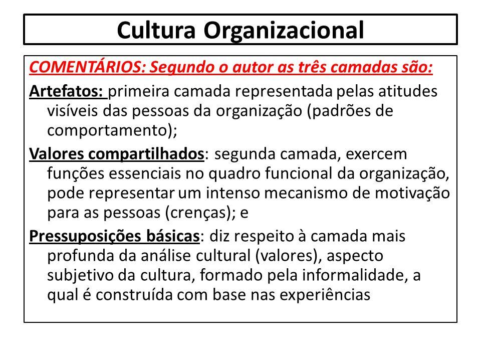 Cultura Organizacional COMENTÁRIOS: Segundo o autor as três camadas são: Artefatos: primeira camada representada pelas atitudes visíveis das pessoas d