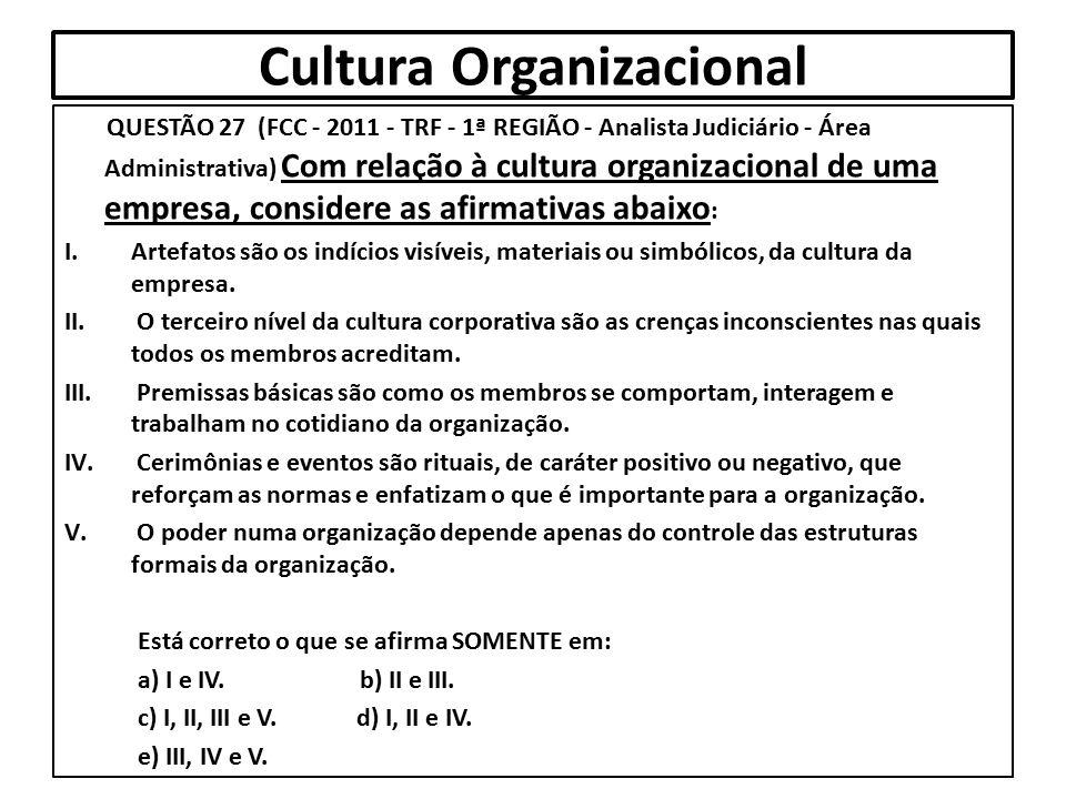 Cultura Organizacional QUESTÃO 27 (FCC - 2011 - TRF - 1ª REGIÃO - Analista Judiciário - Área Administrativa) Com relação à cultura organizacional de u