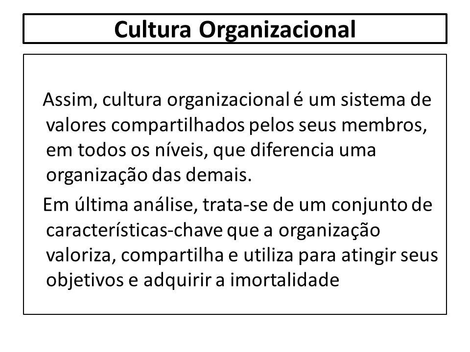 Cultura Organizacional Assim, cultura organizacional é um sistema de valores compartilhados pelos seus membros, em todos os níveis, que diferencia uma