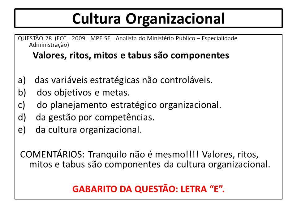 Cultura Organizacional QUESTÃO 28 (FCC - 2009 - MPE-SE - Analista do Ministério Público – Especialidade Administração) Valores, ritos, mitos e tabus s