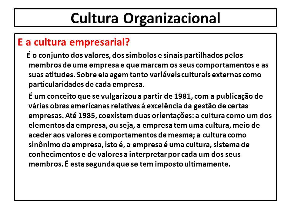 Cultura Organizacional E a cultura empresarial? É o conjunto dos valores, dos símbolos e sinais partilhados pelos membros de uma empresa e que marcam